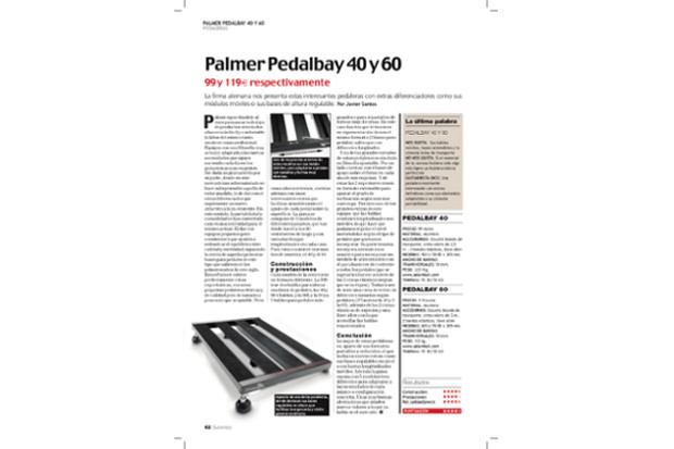 Palmer Pedalbay 40 and 60 ‒ product review in Guitarrista magazine