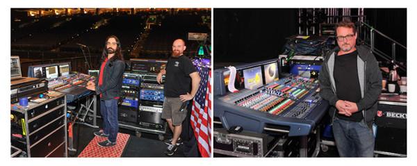 El técnico de FOH, Jason Tarulli; el técnico de sistemas, Richie Gibson, y el técnico de monitores Robert Elliot (de izda. a dcha.).