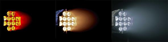 La fonction de décalage vers le rouge permet de rendre la température de couleur plus chaude et rouge à mesure que l'intensité lumineuse diminue. Les projecteurs Cameo portant la mention DTW (Dim-to-Warm) contiennent cette fonction de décalage vers le rouge.