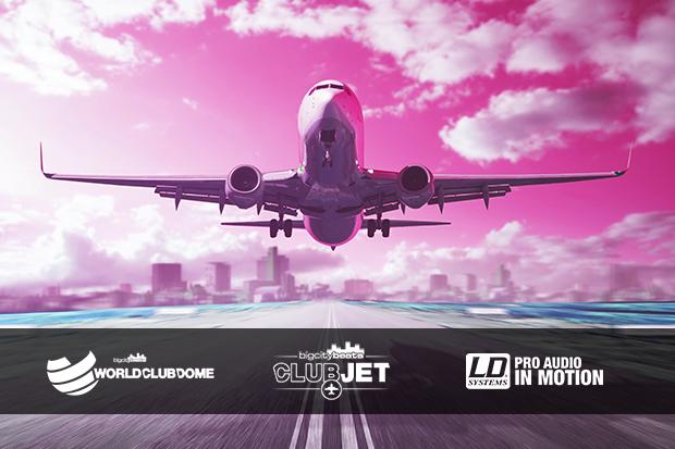 Ambiente de fiesta con la tecnología para eventos de Adam Hall Group a bordo del Club Jet Airbus A-320 de BigCityBeats